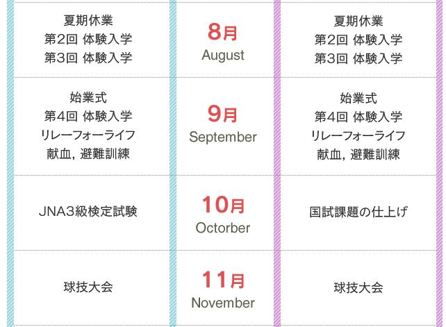 年間行事8月〜11月